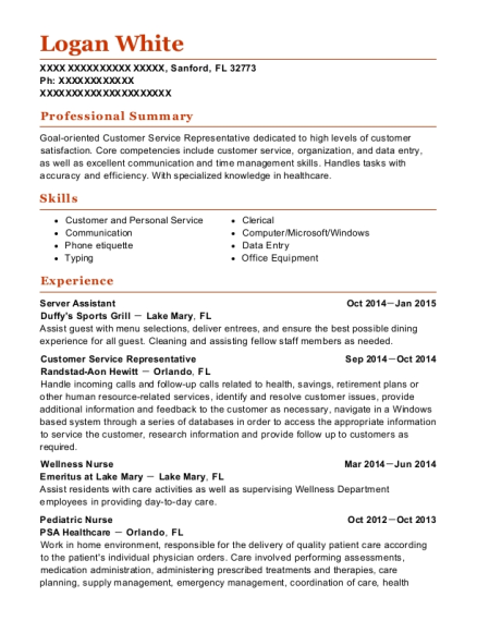 Server Assistant resume format Florida