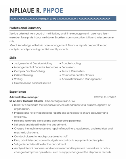 Administrative Manager resume template Florida