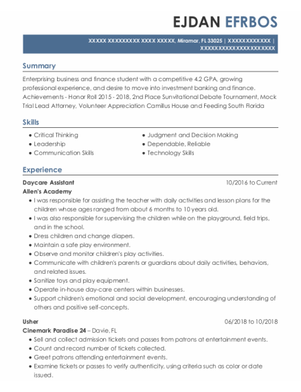 Daycare Assistant resume template Florida