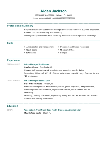 Office Manager resume example Florida