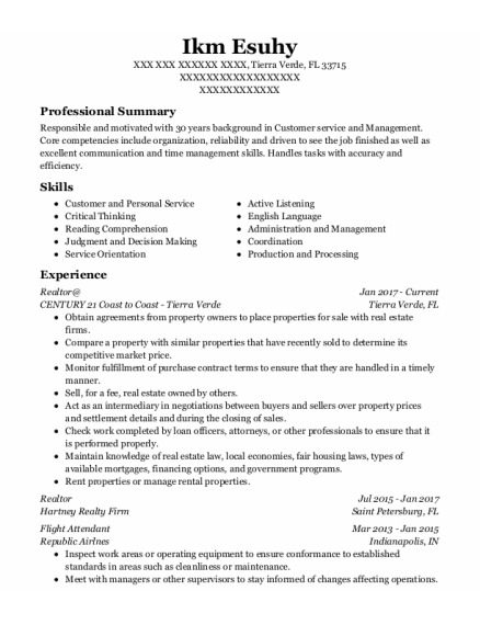 Realtor resume sample Florida