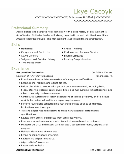 Automotive Technician resume template Florida