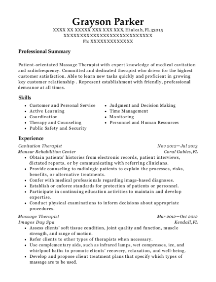 Cavitation Therapist resume template Florida
