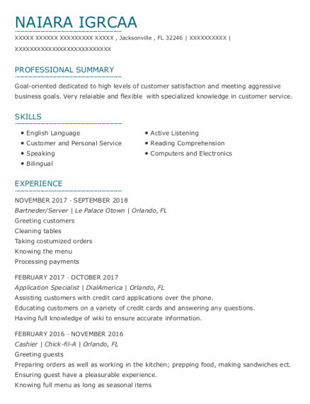 Application Specialist resume example Florida