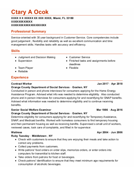 Contract Worker resume sample Florida