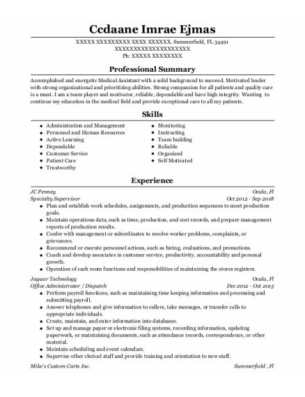Office Administrator resume format Florida