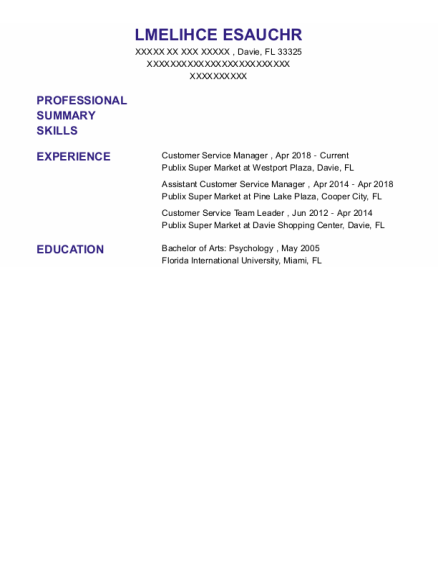 CUSTOMER SERVICE MANAGER resume example Florida
