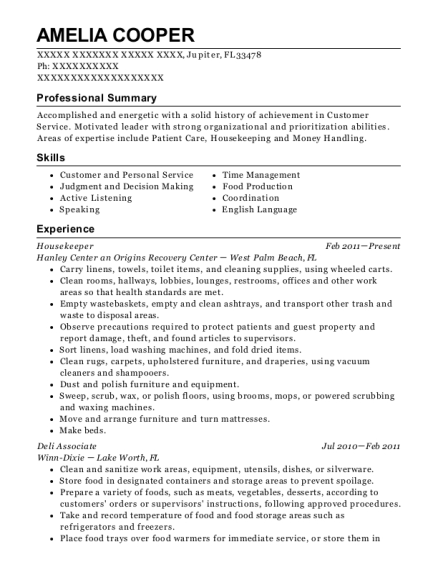 Housekeeper resume sample Florida