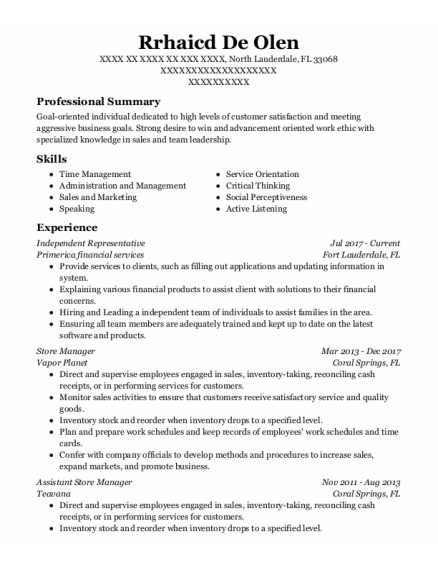 Store Manager resume format Florida