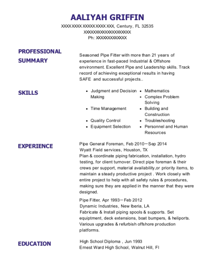 Pipe General Foreman resume template Florida