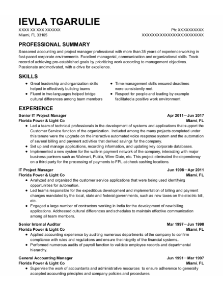 It Project Manager resume format Florida
