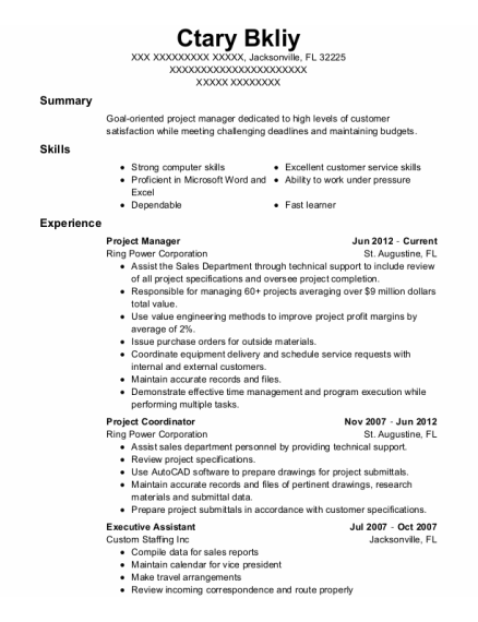 Project Manager resume format Florida