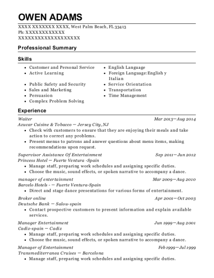 Waiter resume example Florida