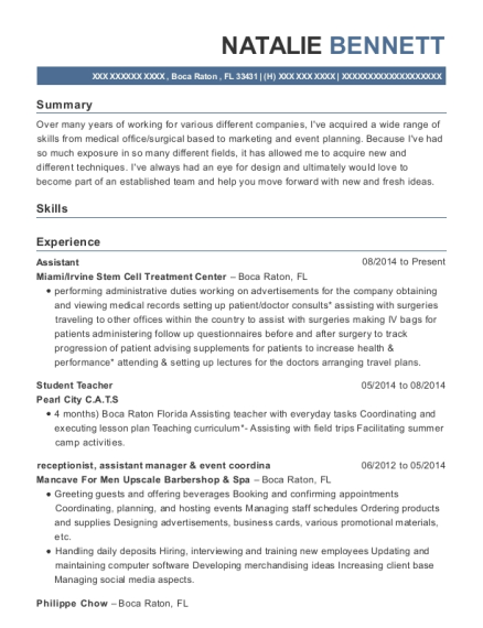 Assistant resume format Florida