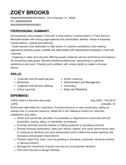 Sales & Services Associate resume template Florida
