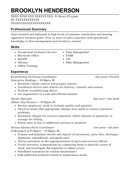 Remarketing Inventory Coordinator resume sample Florida