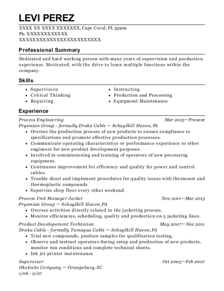 Process Engineering resume template Florida