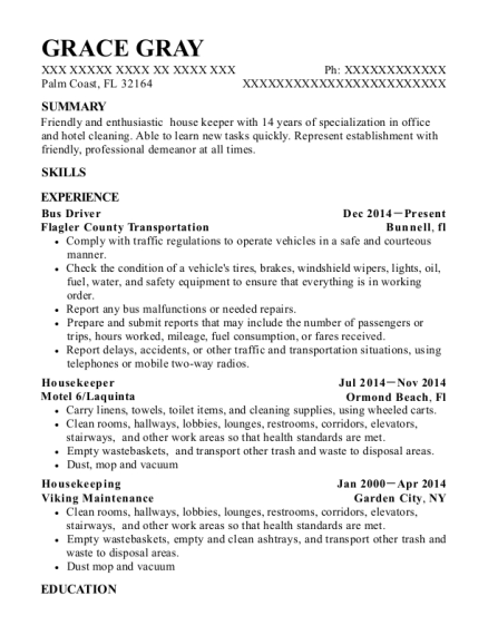 Bus Driver resume example Florida