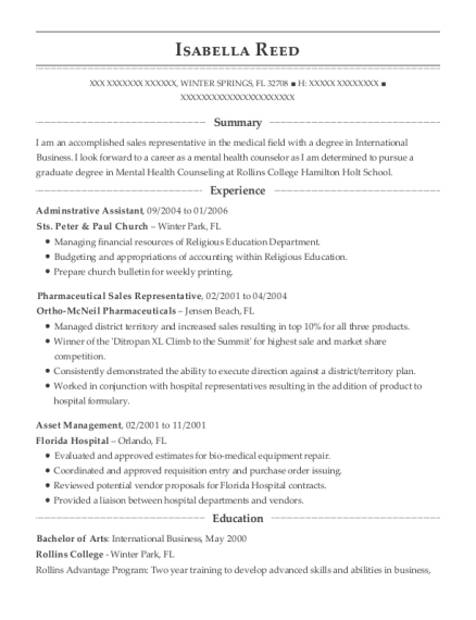Adminstrative Assistant resume template Florida