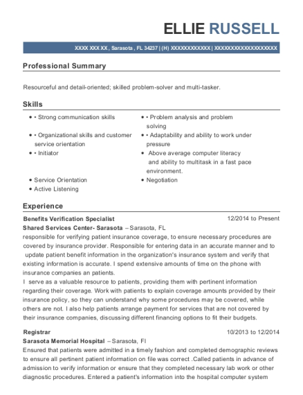 Benefits Verification Specialist resume example Florida