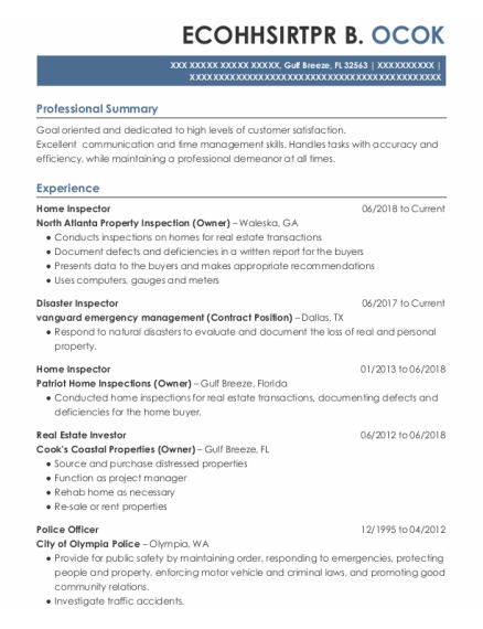 Home Inspector resume template Florida