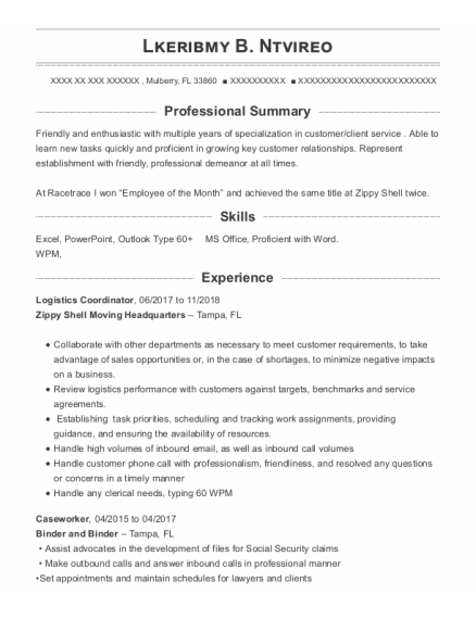 Logistics Coordinator resume sample Florida