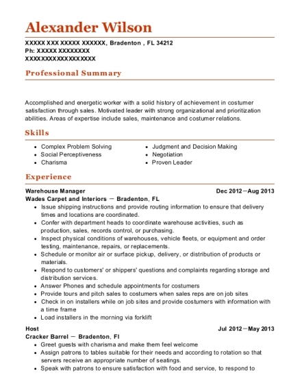 Warehouse Manager resume format Florida