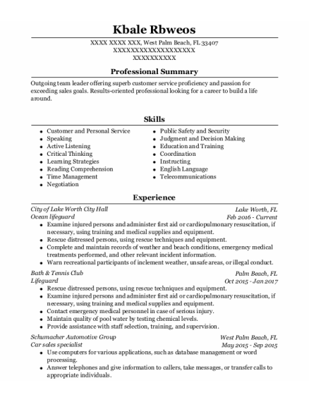 Lifeguard resume template Florida