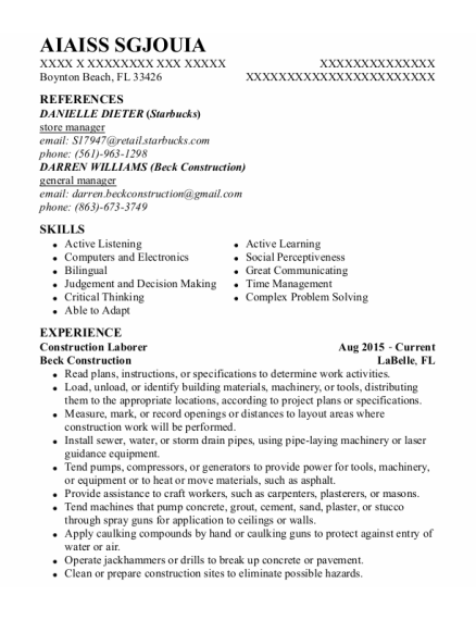 Construction Laborer resume template Florida