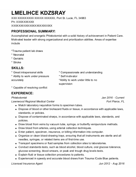 PHLEBOTOMIST resume sample Florida