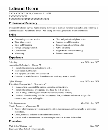 Sales Rep resume template Florida
