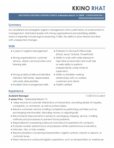 Assistant Manager resume template Florida