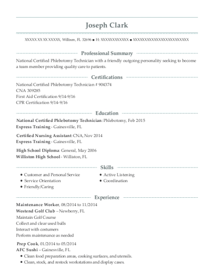 Maintenance Worker resume template Florida