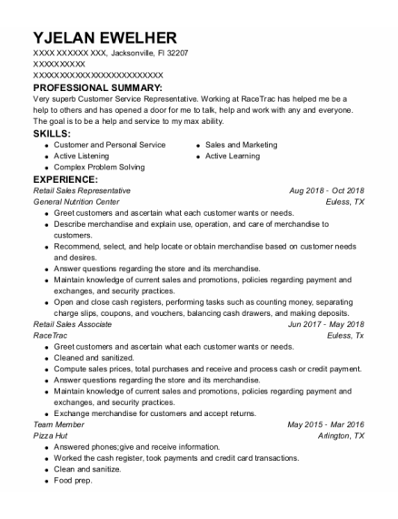 Retail Sales Representative resume example Florida
