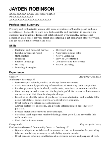 Cashier resume sample Florida