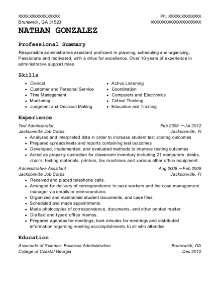 Test Administrator resume template Georgia