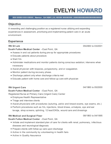 RN GI Lab resume example Georgia