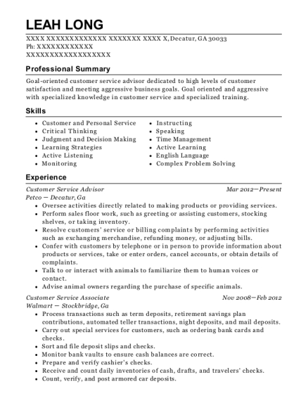 Customer Service Advisor resume sample Georgia