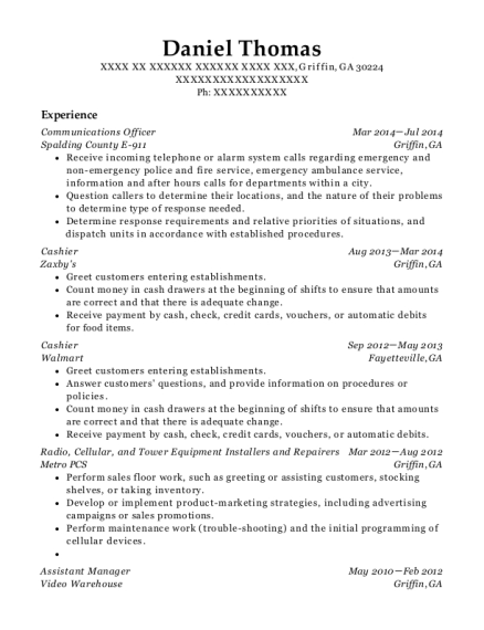 Communications Officer resume format Georgia