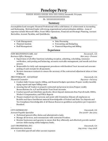 Business Office Manager resume format Georgia