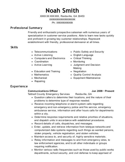 Communications Officer resume template Georgia