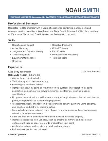 longoria motor sports auto body technician resume sample