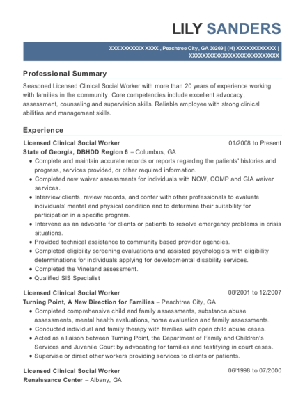 Licensed Clinical Social Worker resume example Georgia