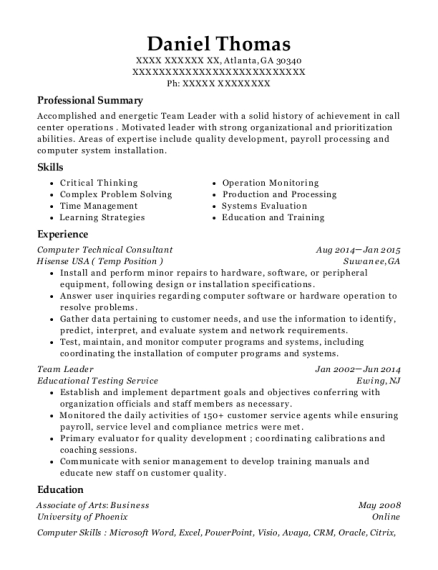 Computer Technical Consultant resume example Georgia