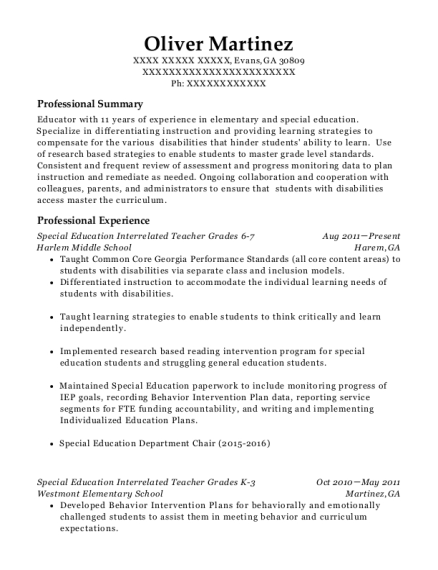 Special Education Interrelated Teacher Grades 6 7 resume template Georgia