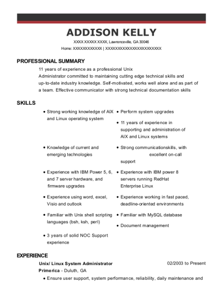 Primerica Unix Resume Sample - Lawrenceville Georgia | ResumeHelp