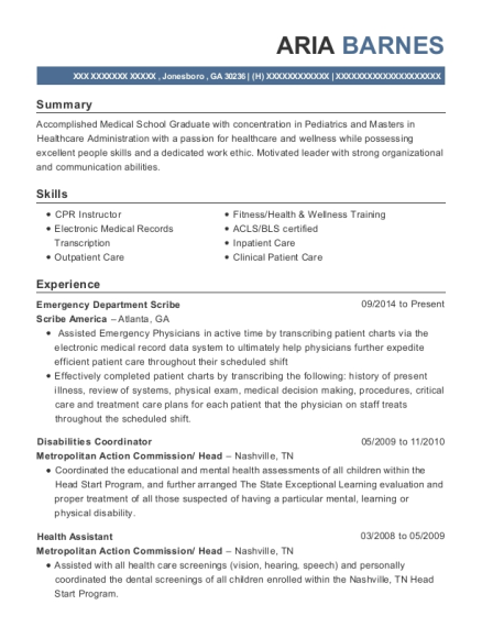 Emergency Department Scribe resume template Georgia
