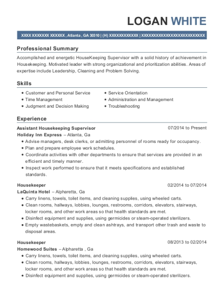 Assistant Housekeeping Supervisor resume template Georgia