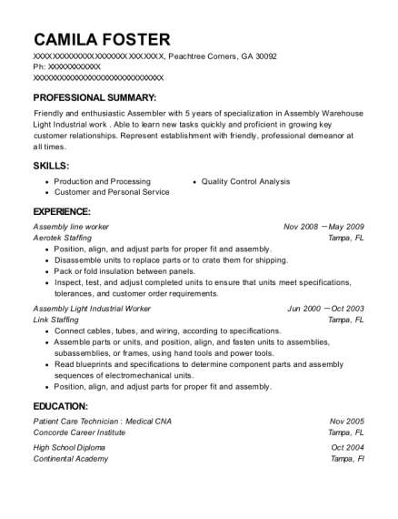 Assembly Line Worker resume format Georgia