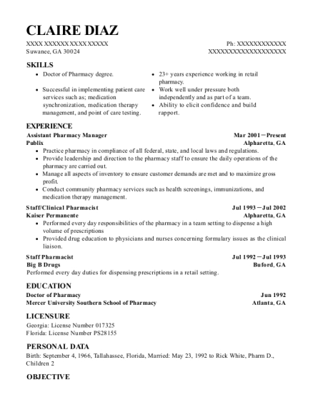 Assistant Pharmacy Manager resume template Georgia